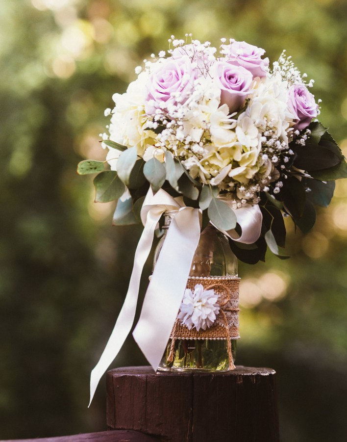 Country wedding purple and gray