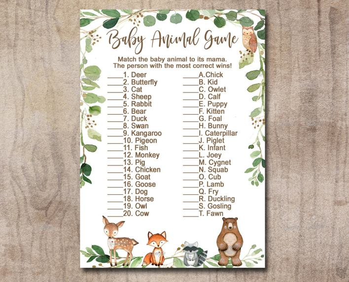 Baby Animal Name Baby Shower Games