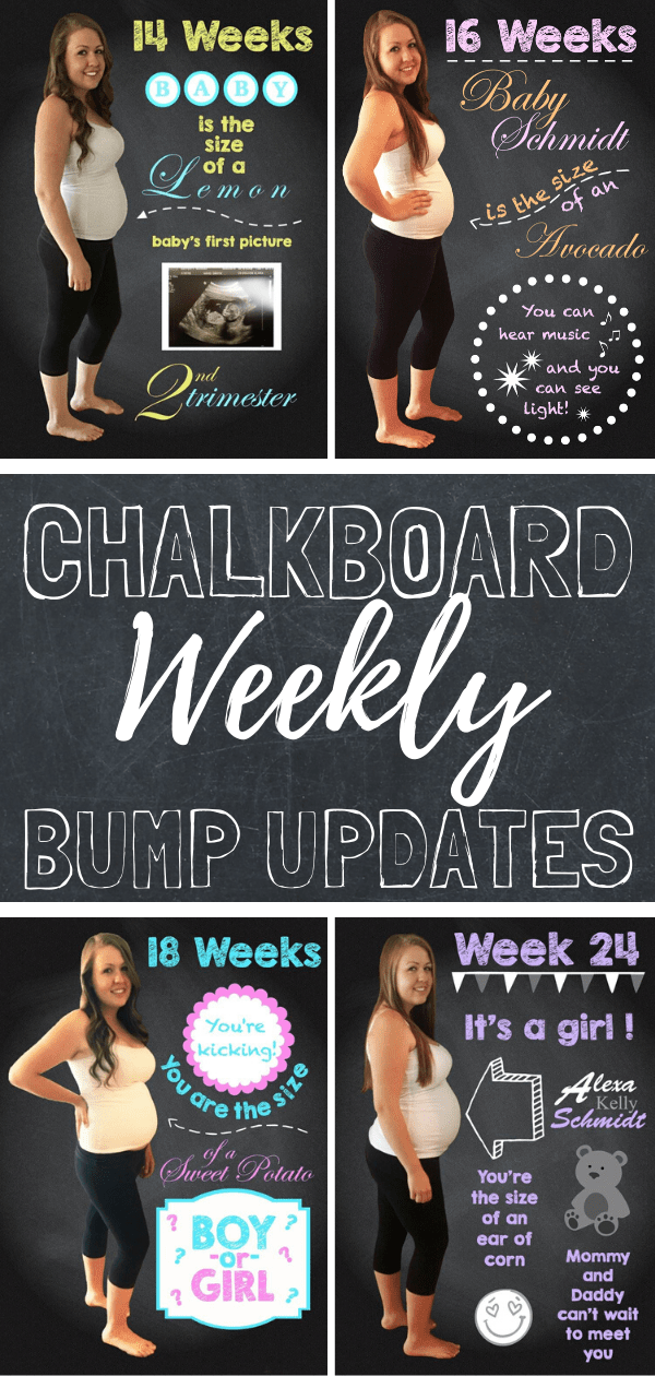 Document your pregnant belly week by week with these chalkboard belly bump updates. #pregnancy