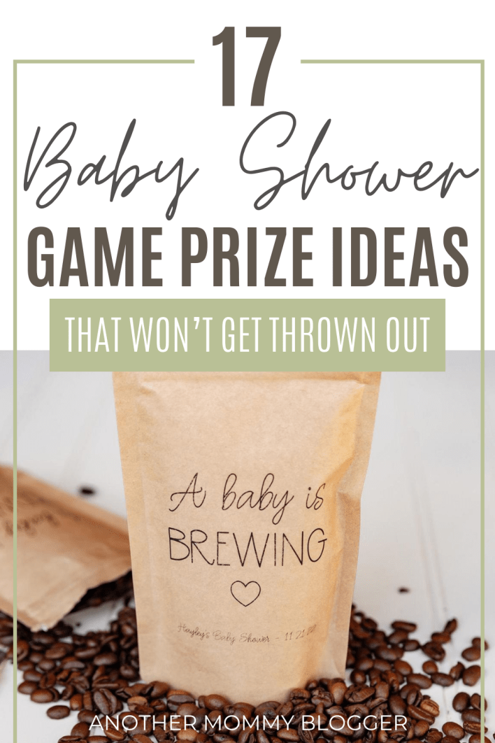 Don't know what to give to your baby shower guests for game prizes? Here's a list of baby shower game prizes they'll actually want. #babyshower