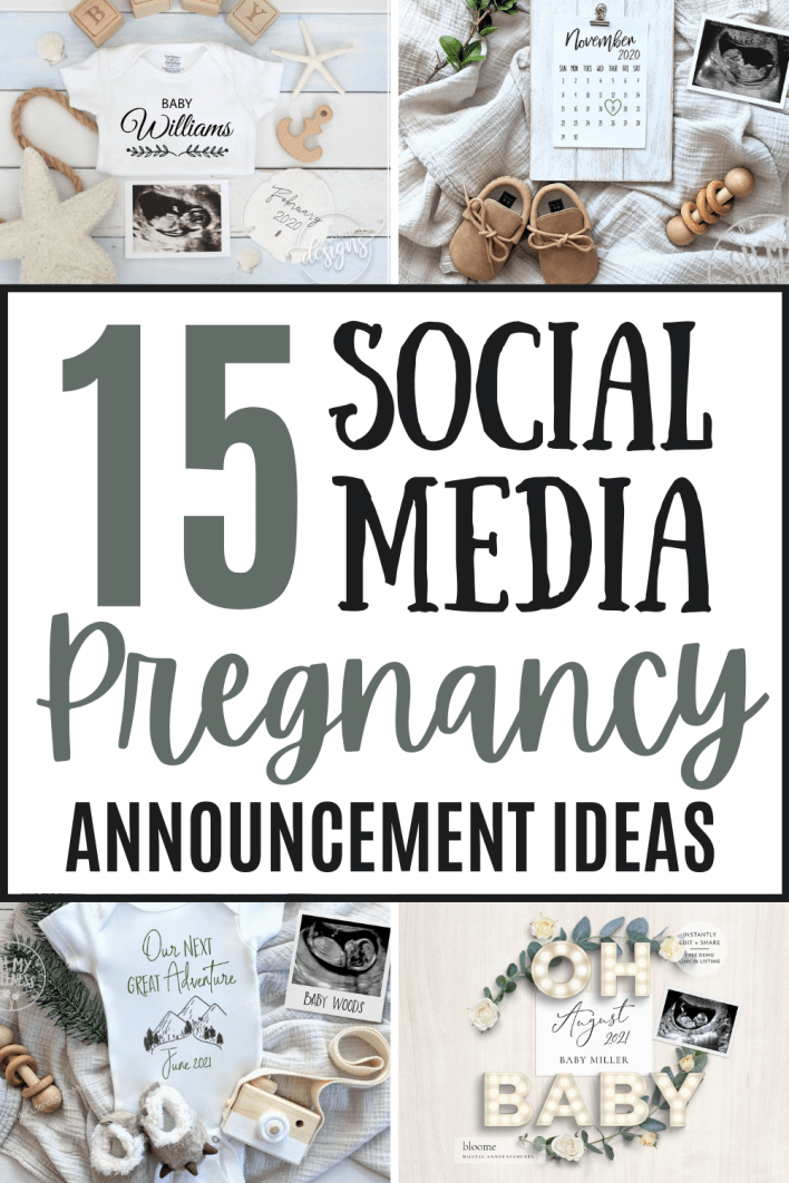 This pregnancy announcement ideas list is full of social media pregnancy announcement ideas you'll love. These digital files are the perfect pregnancy reveals for social media to tell your family and friends you're pregnant. #pregnancy