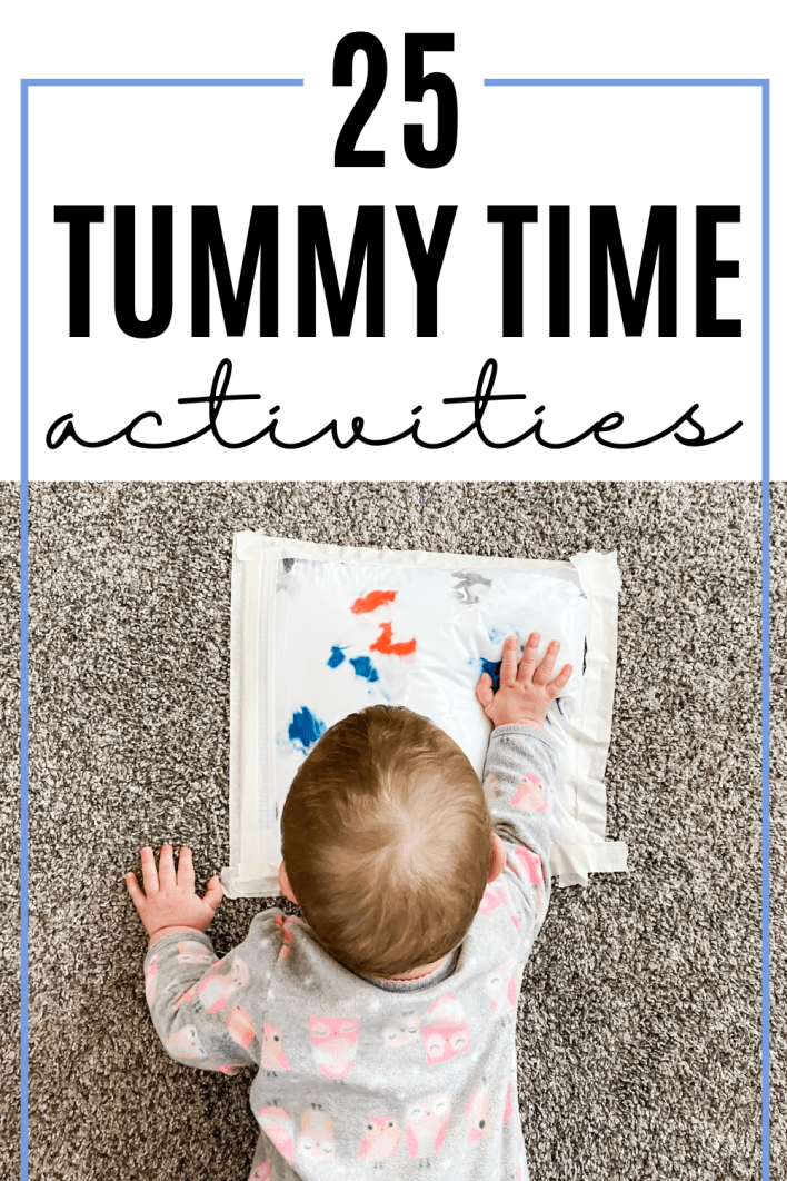 Make a fun sensory bag for babies to play with during tummy time. Babies love these fun tummy time activities.
