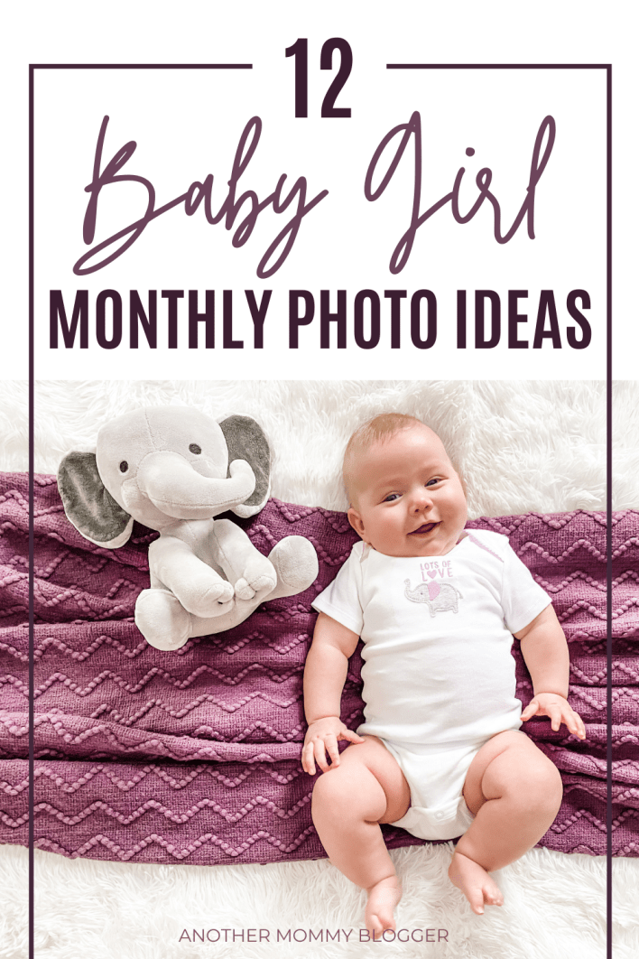 Need diy baby monthly photo ideas for girls? Here are 12 creative baby monthly milestone pictures ideas you need to see. Don't miss these baby photography tips at home.
