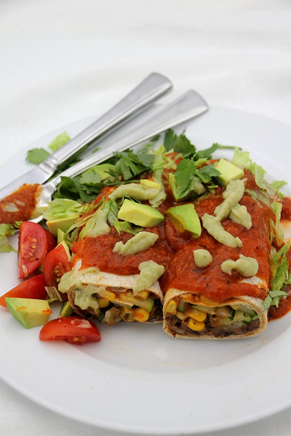 black-bean-burritos-red-pepper-sauce-coriander-sour-cream