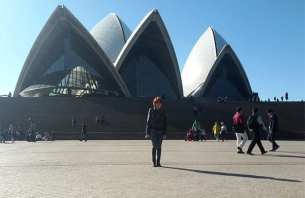 Denise in Sydney at the opera house.