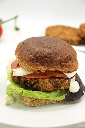 deluxe tempeh burger in bun with lettuce, tomato, vegan aioli on white plate with burgers in background.