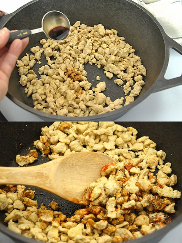 2 pictures adding tamari and adding spices to tempeh crubmles