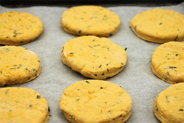 vegan sweet potato biscuits on baking tray