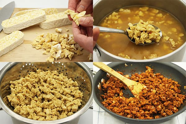 4 pictures preparing tempeh by crumbling, simmering, draining, sauteing.