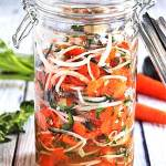 spicy Mexican escabeche in mason jar.