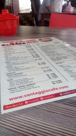 menu andalan vantaggio cafe gamping