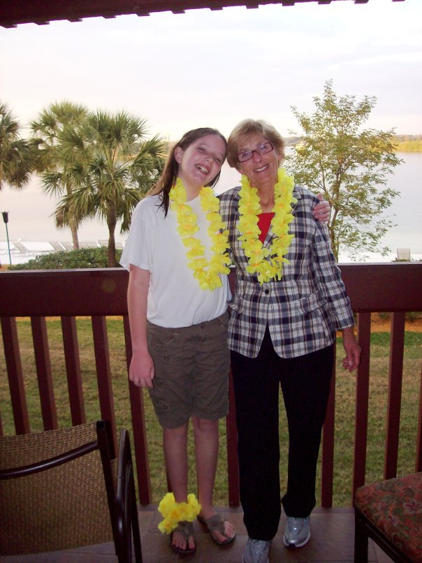 ...she discovered Disney World. This is Molly and my mom during a 2009 Grandma Peggy birthday trip to Disney World. Don't let the leis and the mellow smiles fool you, these two covered every square inch of the Magic Kingdom, Epcot and Animal Kingdom that trip.