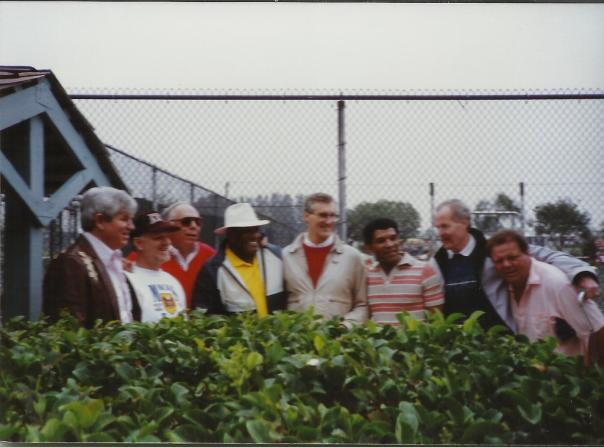 Several members of the Super Bowl I team relax in Sarasota, Florida ahead of Super Bowl XXV. Left to right are Tommy Jo Crutcher, Red  Mack, Bob Skoronski, Willie Davis, Boyd Dowler, Herb Adderley, Jim Weatherwax and Ron Kostelnik (I can't explain the hunch except to say he was a bit of a goofball.)