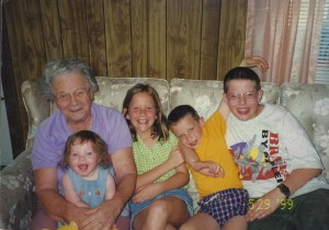 Here's my Grandma with my four kids. We loved visiting her in her green house on 20 Row in Colver, Pennsylvania.