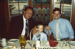 He looks innocent here, seated in between his dad and his Grandpa Ron, but in a few short years this little tyke would wreak draft day havoc.
