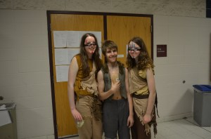 Here are a couple of post-show freshmen -- Molly and Rachel were of the Arawak Tribe and Alex was Nibs, a lost boy.