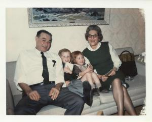 Here are my Grandma and Grandpa Fey with my brother and me.