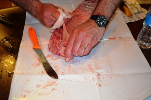 The whole trick is to remove the membrane from the back of the ribs. This will make your ribs nice and tender.
