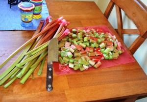Chop up the clean rhubarb stalks. I chopped these a second time after I decided they were too big for the torte.