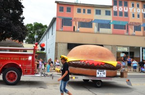 Check out the cheeseburger hat and this float promoting the Seymour Hamburger Festival.
