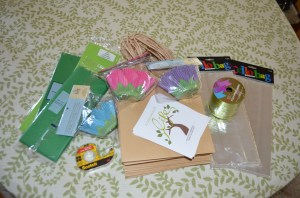 This is my loot from Hobby LobbyI spent an embarrassing amount of time wandering through the store evaluating all the cool, crafty merchandise. These items, especially the tulip muffin liners, delighted me..