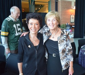 My mom and another admirable Packer wife, Cherry Starr. That's Ruth Pitts greeting Bart Starr in the background.