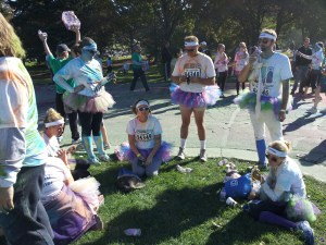 Post race cool down. I don't know these fellows, but I have to give them props. Not a lot of gentlemen can pull off the purple tutu look with such pizzazz.