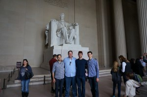We ran into Abraham Lincoln, who insisted on a picture when he realized we were also from the Midwest
