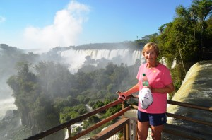 This is my mom on the upper trail of the Argentina side of Iguazu Falls.