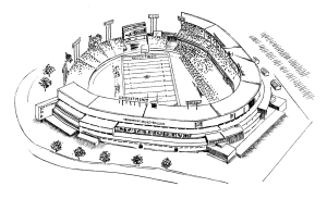 I found this stencil of county stadium on a football game day at heritagesportsart.com. See how the coveted home plate seats turn out to be some of the worst seats in the stadium for football games?