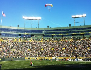 We were all very relieved when the first gentleman made his way into the stadium as we all thought they had initially overshot the stadium. Clearly, this team is used to parachuting into trickier landings than NFL stadiums.