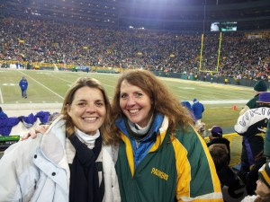 So, this is not from the Bears game, because my sister Kathy and I had our hands full negotiating our rowdy seatmates. But this is us from a previous game and, if your find yourself anywhere near section 117 at Lambeau on a home game, you'll find us there. Come say hello.