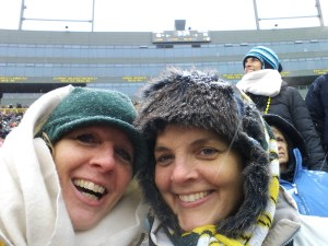 It wouldn't be a winter Packer post without a shot of my sister Kathy and me bundled up to our eyeballs.