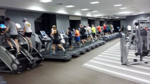 Apparently, it does rain in Southern California and, when it does, everyone heads into the hotel gym. Even this especially nice gym requires certain survival tips.