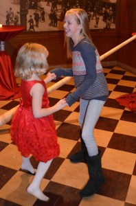 This is Olivia dancing with her pony-loving cousin Erin.