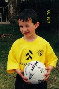 This is my son Vinnie in a soccer uniform he wore for one season back in 1998. Note the wink. He turned out to be much more of a football player than a futbol player, but he is enjoying the World Cup Tournament too. Today, he gets to sit in a Croatian beach town and watch Croatia play Mexico.