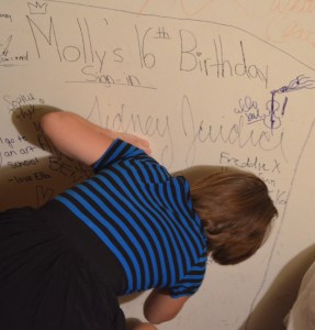 If you want to celebrate my birthday the right way, you have to set aside a part of your wall for your guests to sign in, so you'll never forget what a wonderful time you had (its totally worth it).