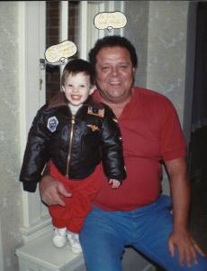 Dad and Charlie in the bomber jacket