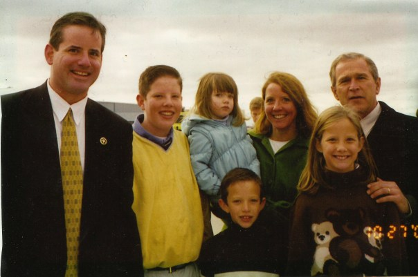 George Bush, Vince, Molly, Katherine, Charlie, Vinnie and me