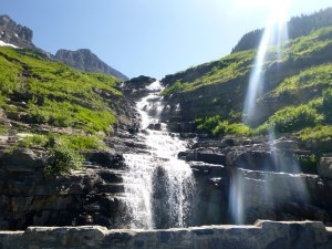 Another waterfall over fractured shale, Glacier National Park, MT