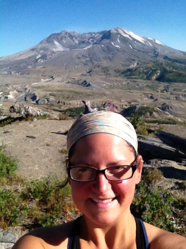 Me in front of north face of the volcano, Mount St. Helens National Monument, WA