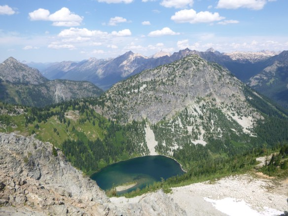 Lake Ann seen from other side of cirque on descent, Maple Pass Trail, North Cascades National Park, WA
