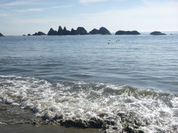 Bright sun on the surf with sea stacks in background, Pacific Ocean, Oregon
