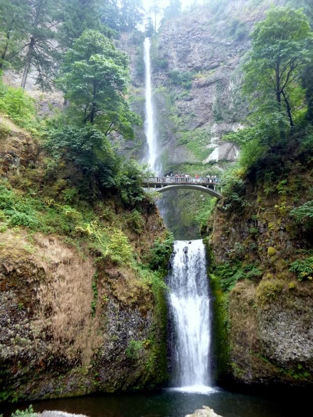 Multnomah Falls viewed from the bottom, Oregon