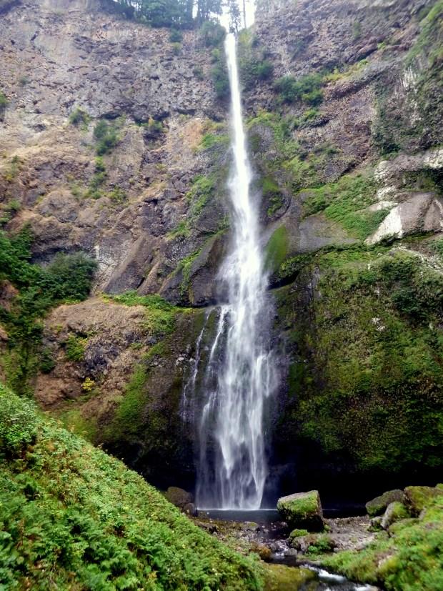 Top cascade of Multnomah Falls from footbridge, Oregon