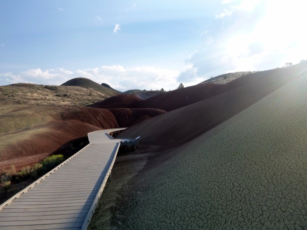 Close view of painted hills from boardwalk of Painted Cove Trail, John Day Fossil Beds, Oregon