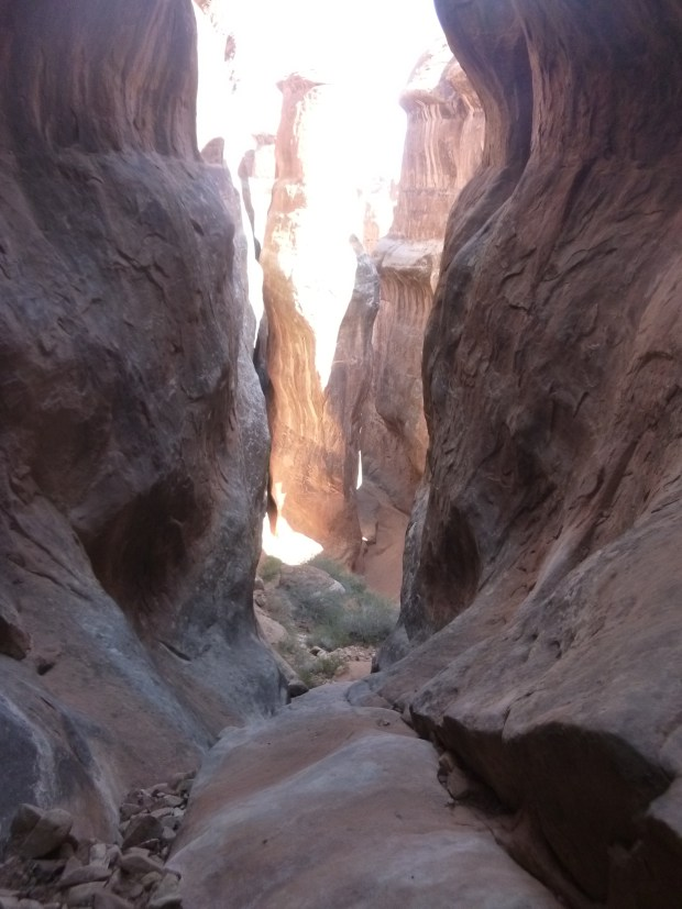 Looking down the fin we just climbed up, Fiery Furnace, Arches National Park, Utah