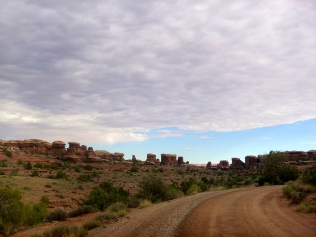 The drive to Elephant Trailhead showing the cluster hoodoos we were about to hike into, Canyonlands National Park, Utah