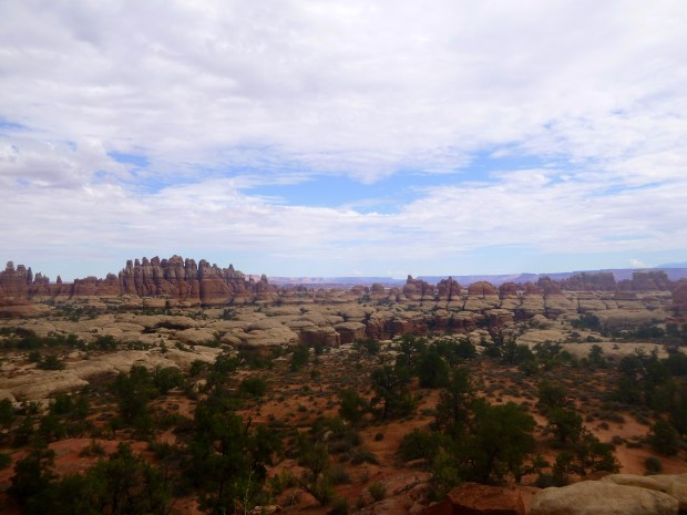 View behind me after breaking out of the cluster of fins and hoodoos, Chesler Park Loop Trail, Canyonlands National Park, Utah