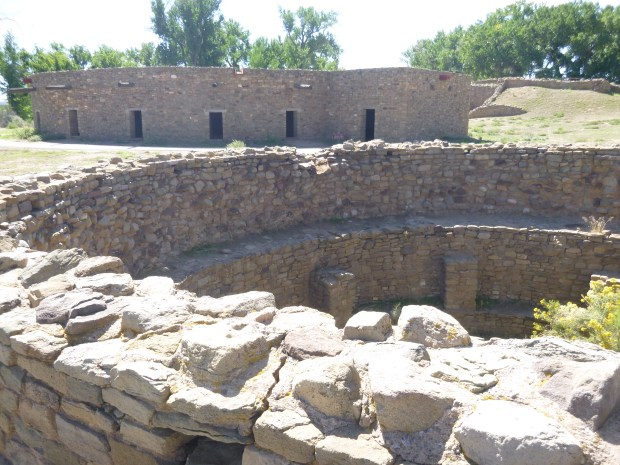 Smaller great kiva in foreground with reconstructed kiva in background, 1180 - 1130 AD, Aztec Ruins, New Mexico